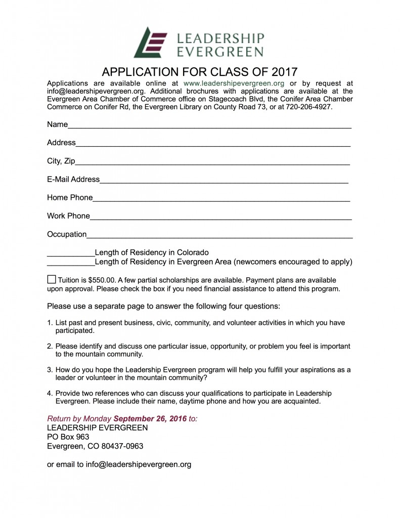 Application for LE Class of 2017